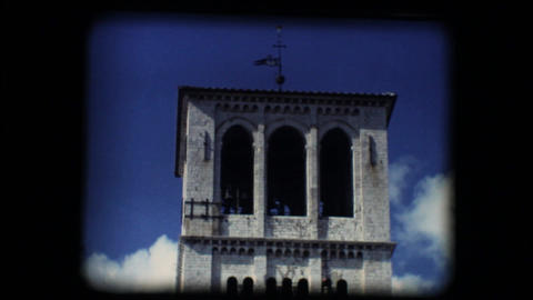 Vintage 8mm. Steeple of Basilica of San Francesco  Footage