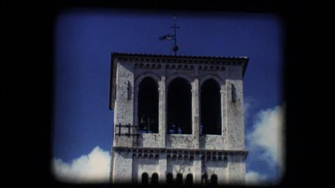 Vintage 8mm. Steeple of Basilica of San Francesco Stock Video Footage
