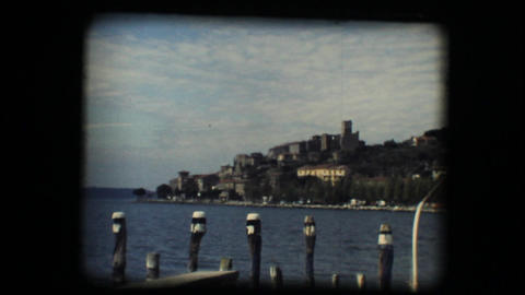 Vintage 8mm. View of medieval town Stock Video Footage