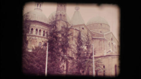 Vintage 8mm. View of church in Padova Stock Video Footage