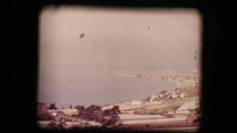 Vintage 8mm. View of the gulf of San Remo Stock Video Footage