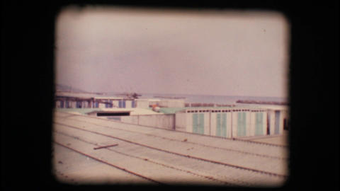 Vintage 8mm. Empty seaside resort in winter Stock Video Footage