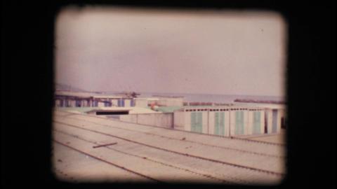 Vintage 8mm. Empty seaside resort in winter Stock Video Footage