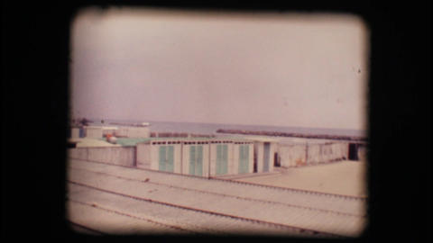 Vintage 8mm. Empty seaside resort in winter Footage
