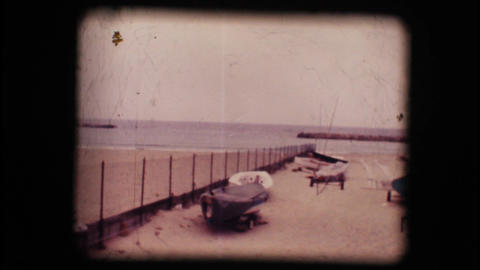 Vintage 8mm. Lonely beaches in winter Stock Video Footage