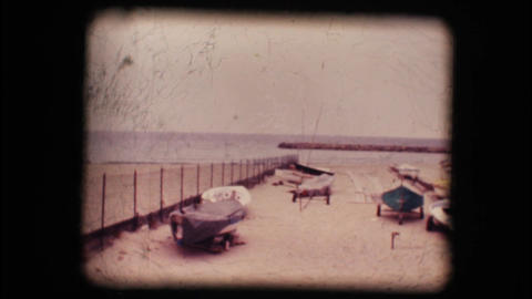 Vintage 8mm. Lonely beaches in winter Footage