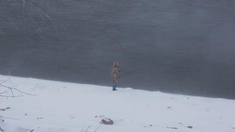 Winter Fisherman 01 Stock Video Footage