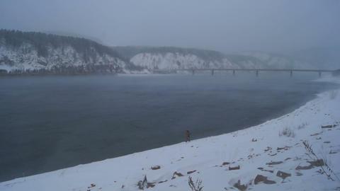 Winter Fisherman 04 Stock Video Footage