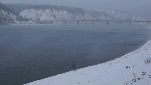 Winter Fisherman 06 Stock Video Footage