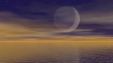 Moonlight over ocean - 3D render Stock Video Footage