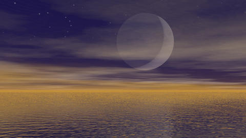 Moonlight over ocean - 3D render Stock Video Footage
