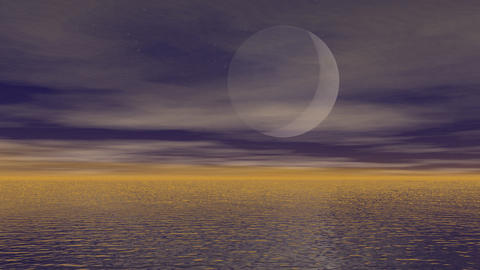 Moonlight Over Ocean - 3D Render stock footage