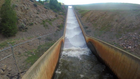 4K Earthen Dam with spill way Footage