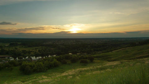 Sunset green hills timelapse Footage