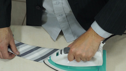 Businessman Getting Ready Irons Tie Footage