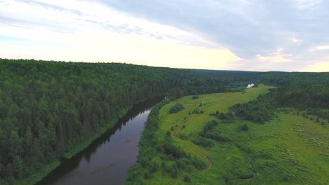 Flying over River and Forest in Evening Live Action