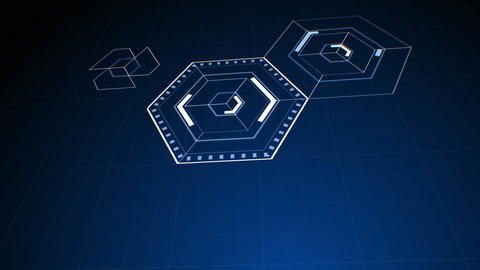 Drawing Abstract Hexagon Icons on Digital Screen. Digital... Stock Video Footage