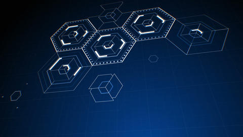 Drawing Abstract Hexagon Icons on Digital Screen. Digital Technology 3d Animation