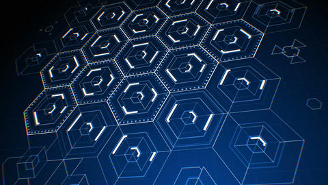 Drawing Abstract Hexagon Icons on Digital Screen. Digital… Stock Video Footage