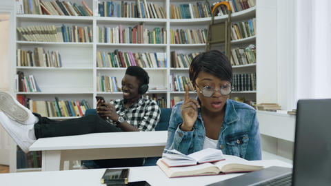 African students in the library Live Action