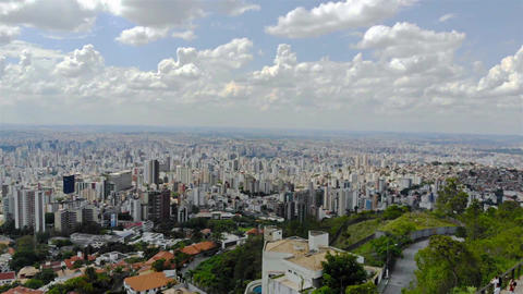 Cityscape of a huge city in Brazil from a view point - Aerial View - Right Dolly Archivo