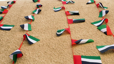 Flags of UAE waiving on the wind Footage