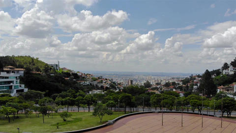 Aerial View of the city of Belo Horizonte From A Park - Crane Up Footage