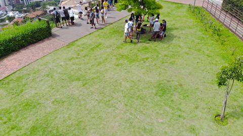 Group of students at a view point garden - top view Footage
