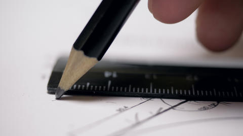 macro constructor draws straight line on paper with plan Footage
