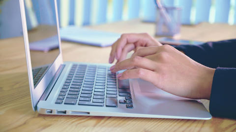 Human hands working on laptop on office background.A young woman in the office Footage