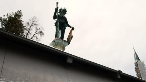 Wild man statue landmark of Salzburg on Austria Footage