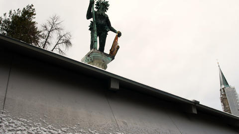 Wild man statue landmark of Salzburg on Austria Stock Video Footage