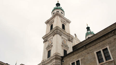 Exterior Dome View of Salzburg Cathedral Footage