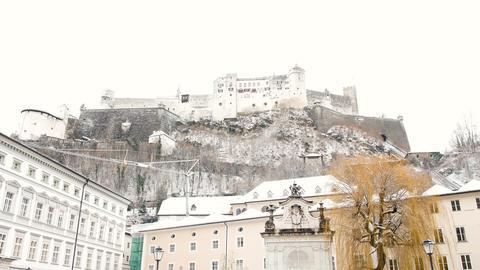 snowy Salzburg fortress Footage
