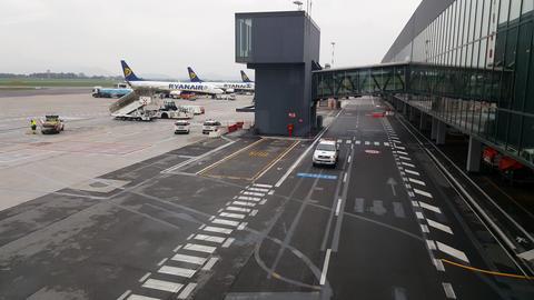 Bergamo airport Orio Al Serio), Italy. Ryanair Boeing 737-800 planes on tarmac Footage