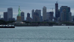 USA New York City 372 Jersey City and Statue of Liberty in early morning Footage