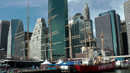 New York 344 Manhattan cityscape seen from South Street Seaport Footage