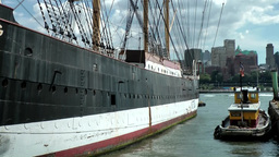 New York 353 South Manhattan, old sailing ship across from Brooklyn Footage