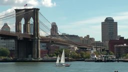 New York 358 Brooklyn Bridge & cityscape ; sailing boat Footage