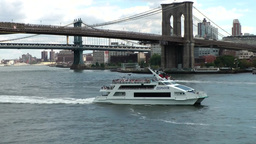 New York 359 Manhattan, East River Ferry under Brooklyn Bridge Footage