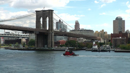 New York 366 East River Pilot Boat Under Brooklyn Bridge stock footage