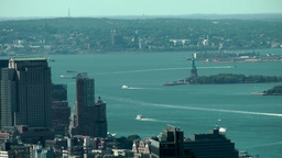 New York 206 Manhattan view to Liberty Island from above Footage