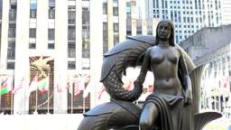 New York 224 Manhattan theater district fantasy statue on Rockefeller Plaza Footage