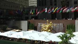 New York 226 Manhattan Theater District Rockefeller Plaza golden boy figure Footage