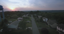 Sunset Aerial View Typical Pennsylvania Neighborhood Street Footage