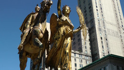 New York 250 Manhattan, doves on golden statue 5th Ave. Central Park Footage