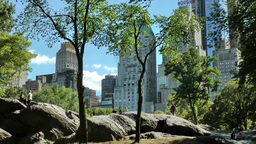 New York 267 Manhattan, Rocks in Central Park with skyline background Footage