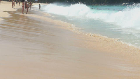 Azure waves rolled on the sand of Karon Beach Footage