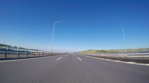 Blue sky of a vehicle-mounted camera/ Traveling by car to Tokyo Bay near the roa ライブ動画