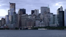 New York 160 Manhattan, Hudson River, Skyline early in the Morning Footage